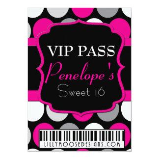 Polka Dot VIP Pass Sweet 16 Invitation