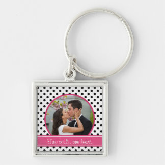 Polka Dot Wedding Photo Template Keychain