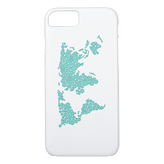 Polka-dot World Map in Cyan iPhone 7 Case