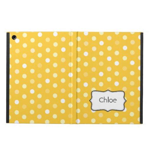 Polka dot yellow name ipad air powis case iPad air cases