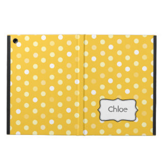 Polka dot yellow name ipad air powis case case for iPad air