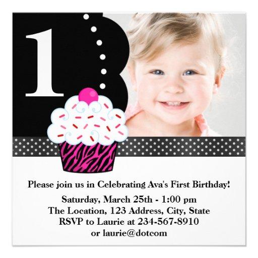 Polka Dot Zebra Cupcake Girls Photo 1st Birthday P Personalized Invites
