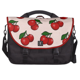 Polka dots and Cherry Pattern in Candy Pink Laptop Shoulder Bag