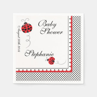 Polka Dots and Cute Ladybugs Paper Party Napkins Disposable Serviette