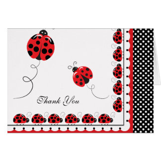 Polka Dots and Cute Ladybugs Thank You Card