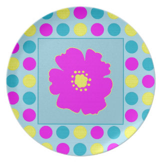 Polka Dots and Flower in PBY Dinner Plates