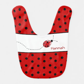 Polka Dots and Ladybug Custom Baby Bib