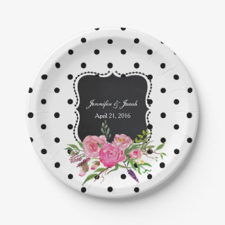 Polka Dots and Peonies Wedding Paper Plate