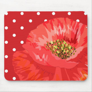 Polka Dots and Poppy Red and White Mouse Pad