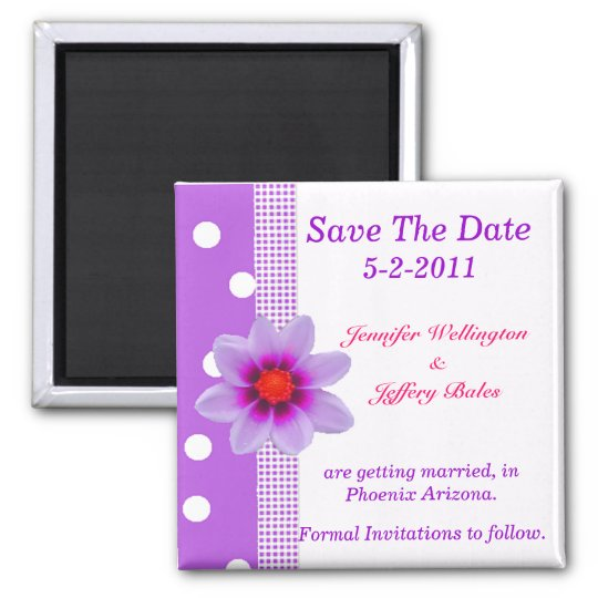 Polka Dots and Purple Flower Save the Date magnet