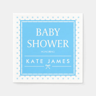 Polka Dots and Ribbon Blue Baby Shower Disposable Serviettes