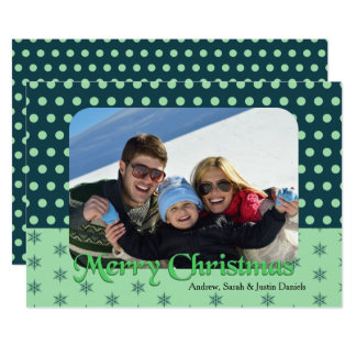 Polka Dots and Snowflakes Christmas Photo Card 13 Cm X 18 Cm Invitation Card