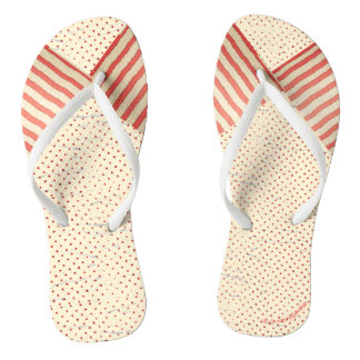 Polka Dots and Stripes Faded Vintage Look Thongs