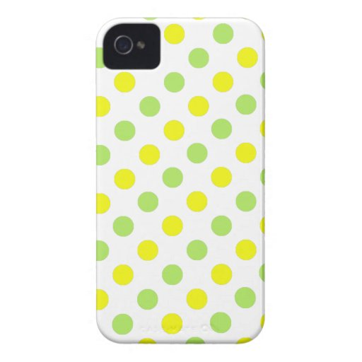Polka Dots Apple green and yellow background iPhone 4 Cases