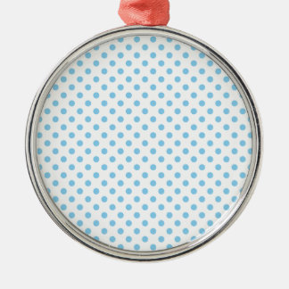 Polka Dots - Baby Blue on White Silver-Colored Round Decoration