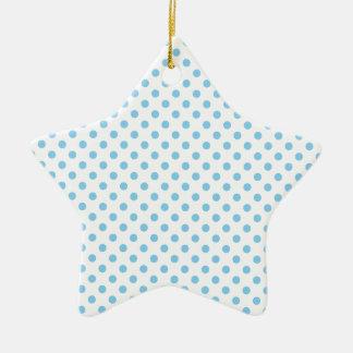 Polka Dots - Baby Blue on White Ceramic Star Decoration