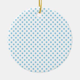 Polka Dots - Baby Blue on White Round Ceramic Decoration