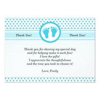 Polka Dots Baby Shower Thank You Card Unisex Aqua
