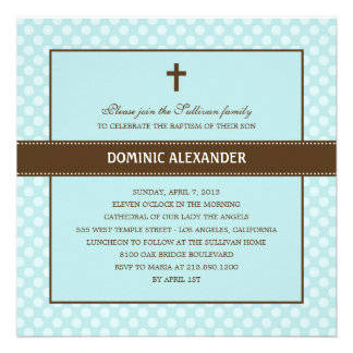 Polka Dots Baptism Christening Invitation Personalized Invitation
