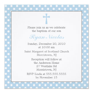 "Polka Dots Baptism Invitations 5.25"" Square Invitation Card"