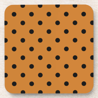 Polka Dots - Black on Ochre Drink Coaster