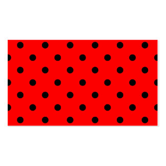 Polka Dots - Black on Red Business Card Template