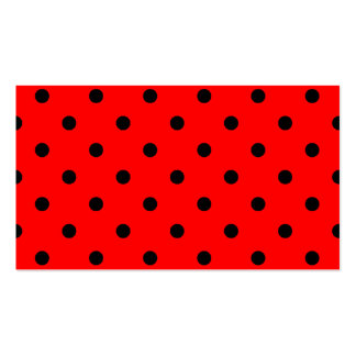 Polka Dots - Black on Red Business Cards