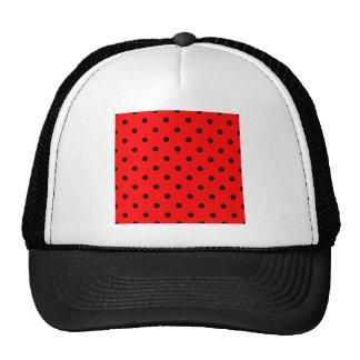 Polka Dots - Black on Red Hat