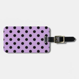 Polka Dots - Black on Wisteria Luggage Tag