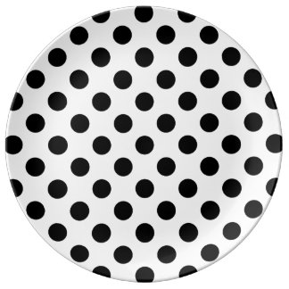 Polka Dots - Black Porcelain Plate