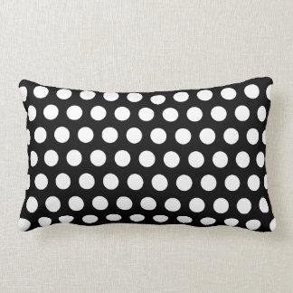 Polka dots black, white retro spots lumbar pillow