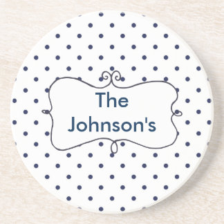Polka Dots Blue and White Customize Drink Coasters