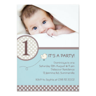 Polka Dots Blue Kids Photo Birthday Invitation