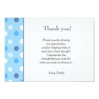 Polka Dots Blue Thank You Card Note 13 Cm X 18 Cm Invitation Card
