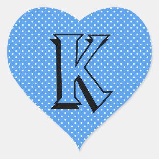 Polka dots blue & white custom monogram initial heart sticker
