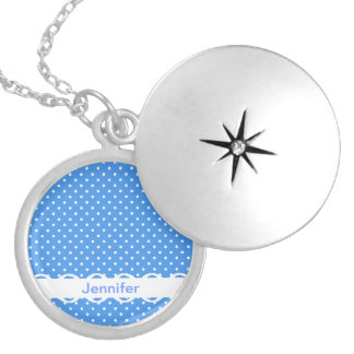 Polka dots blue white spot retro custom girls name round locket necklace