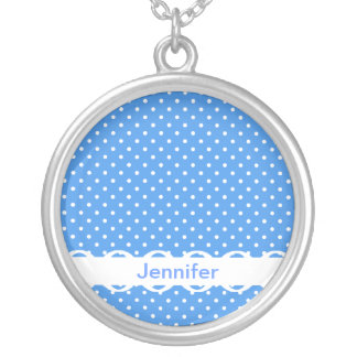 Polka dots blue white spot retro custom girls name round pendant necklace
