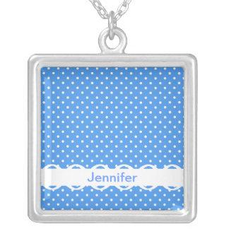 Polka dots blue white spot retro custom girls name square pendant necklace