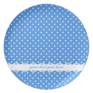 Polka dots blue & white spots retro fancy, custom plate