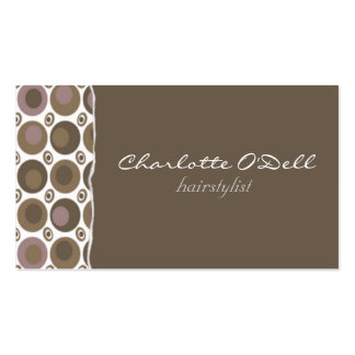 polka dots; brown pack of standard business cards