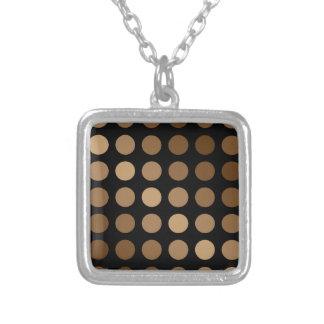 polka dots brown on black silver plated necklace