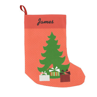 Polka Dots Christmas Tree and Presents Small Christmas Stocking
