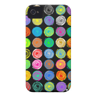 Polka Dots Colour Spin Dark iPhone 4 Case-Mate Cas