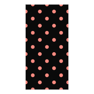 Polka Dots - Coral Pink on Black Personalized Photo Card