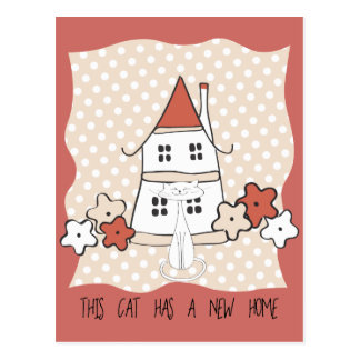 Polka Dots Cute House and Flowers New Address Postcard