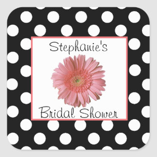 Polka Dots Daisy Bridal Shower Sticker