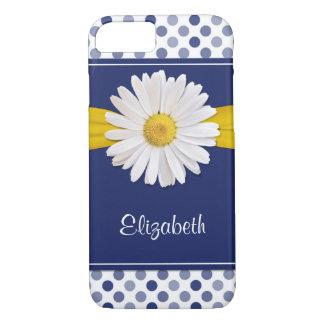 Polka Dots Daisy Ribbon Navy Blue iPhone 7 Case