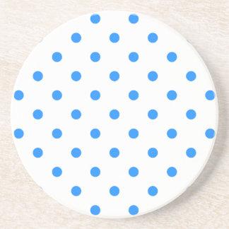 Polka Dots - Dodger Blue on White Coasters