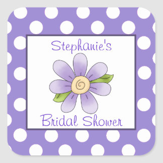 Polka Dots Flower Bridal Shower Sticker