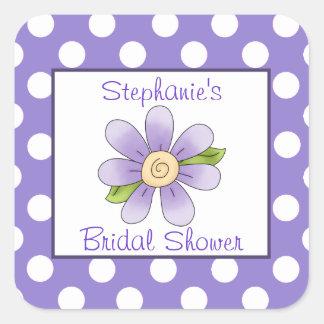 Polka Dots & Flower Bridal Shower Sticker